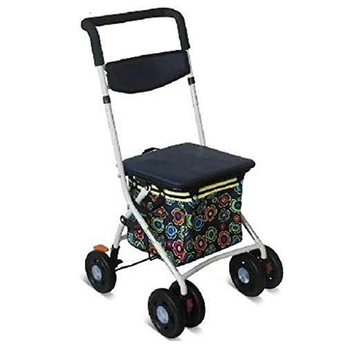JALAL Faltbare vierrädrige Rollator Shopping Trolley Walker Gehhilfe mit Rückenlehne Einkaufskorb Handlauf Abnehmbare Fußbremse