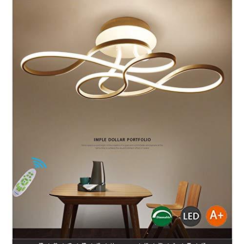 LED Deckenleuchte Wohnzimmerlampe Dimmbar mit Fernbedienung Deckenlampe, 100W Modern Decke Schlafzimmerlampe Acryl Lampenschirm Aluminium Design Lampe für Esszimmerlampe Bürolampe Küchelampe (Gold)