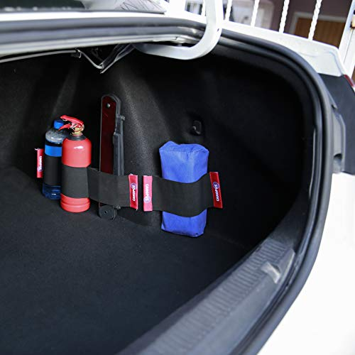 CANOPUS Car Trunk Organizer with Hook and Loop Fasteners, Back Seat Storage Organizer, Car Size Fire Extinguisher Mount, 2 Piece Strap Down Design, Total 4 Pockets