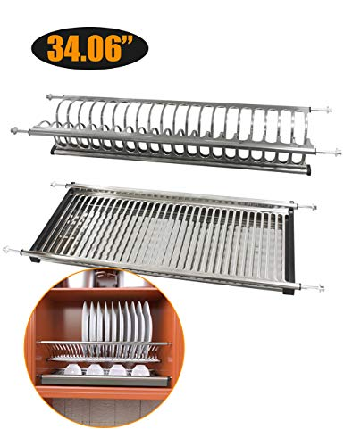 Kitchen Hardware Collection 2 Tier Cabinet Dish Drying Rack Stainless Steel 34.06 Inch Length 32 Dish Slots Kitchen Plate Bowl Utensils Cups Draining Rack Organizer with Drainboard