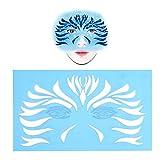 Plantillas de tatuajes reutilizables 7pcs / set Plantillas de tatuajes temporales con purpurina, Plantillas de pintura facial para niños y adultos Papel de plantilla y papel para manualidades
