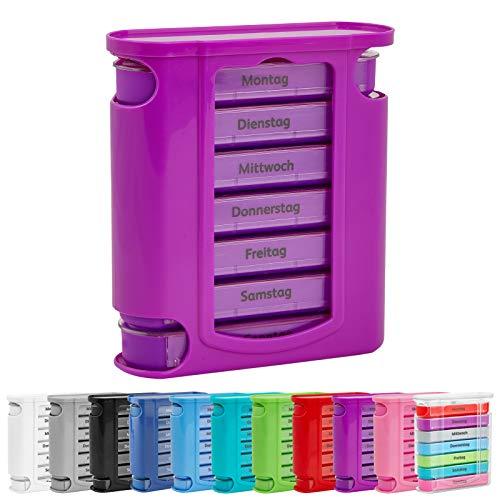 WELLGRO Tablettenbox für 7 Tage, je 4 Fächer pro Tag, 11 Farben zur Auswahl, Farbe:Lila