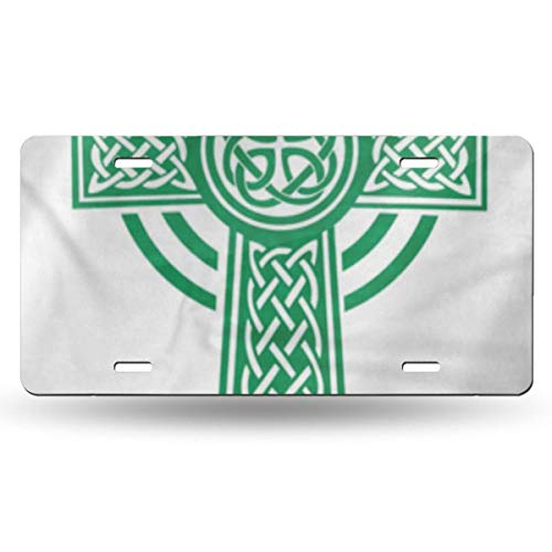 others SZxiaoyang Aluminum Metal License Plate ,Fashion Decorative Car Tag for Women Girls Men Boys License Plates Irish Green Celtic Details Shamrock Beer Celebration Clover Culture