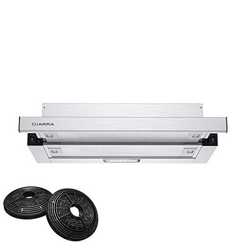 CIARRA CBCS6906D Flachschirm-Dunstabzugshaube 60cm mit CBCF002X2 Aktivkohlefilter,370m³/h Einbau-Flachschirmhaube Abluft Umluft 2 Stufen Edelstahl,LED-Beleuchtung,Aluminium Fettfilter