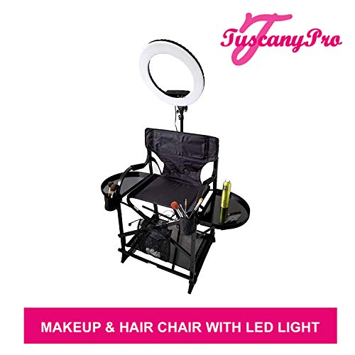 TuscanyPro Portable Makeup & Hair Chair with 14 Inch LED Ring Light - Perfect for Makeup, Hair Stylist, Salon with 25 Inch Seat Height - Carry Bag Included - USA Patented Design