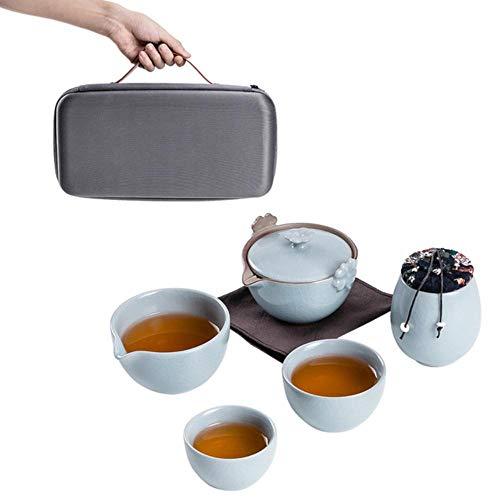Tetera de cerámica gaiwan Teacup a Tea Sets Portátil Viaje Té Set de Bebida Estilo D