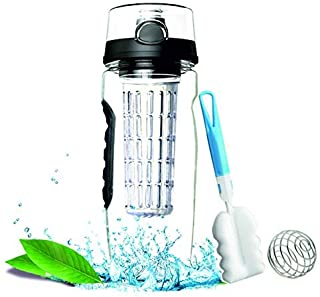 Fruit Infuser Water Bottle 32 Oz, Made of Durable & BPA-Free Plastic, Infusion Sports Bottle with Lockable Flip Top Lid, Rubber Grip & Leak Proof for Gym Sports Camping: Enjoy your daily hydration! [並行輸入品]