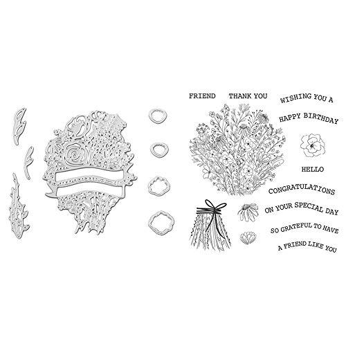 Scrapbooking Prägen Schneidwerkzeuge für DIY Scrapbooking Fotoalbum Papierkarte Basteln, Buchstaben schneiden Die Silikondichtungsset für Schneidwerkzeuge + Siegel)
