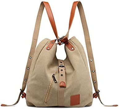 wbwlfjtlll Fashion Canvas Ladies Shoulder Bag Multifunctional Ladies Backpack Student School Travel Bag Large Capacity (Color : Khaki, Size : (30cm(Max Length(50cm))
