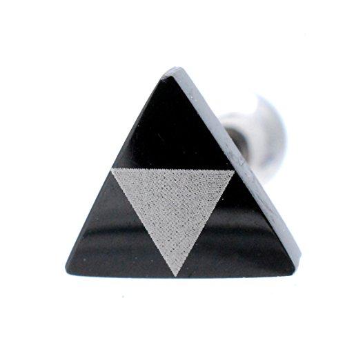 (スリーナイン) ボディピアス 18G 16G バイカラー 三角 耳たぶ 軟骨ピアス TPB012 (ブラック×Sゴールド 18G)