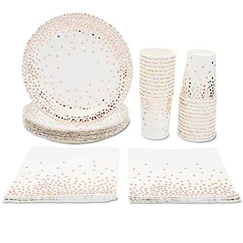 Rose Gold Party Supplies - Serves 24 Paper Cups, Plates and Napkins Set with Polka Dot Foil for Birthday, Bachelorette Party, Sweet 16, Baby shower