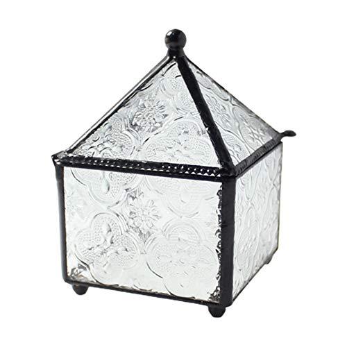 YHDNCG Caja de joyería,Caja de anillo geométrico de cuatro lados,Caja de almacenamiento de joyería de cristal,Caja de la baratija, regalo de recuerdo