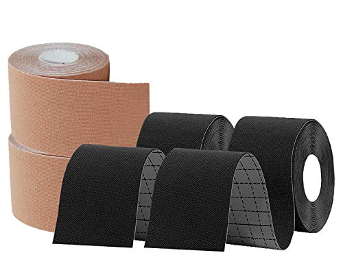 KISEER 4 Pack Kinesiology Tape 16ft Latex Free Elastic Waterproof Breathable Athletes Sports Tape for Knees, Ankles, Elbow, Pain Relief and Shoulder Muscle (Black, Skin)