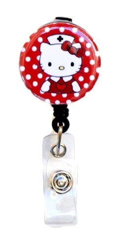 SIZZLE CITY New Custom Hello Kitty Nurse/RN/CNA/LVN/Nursing Student Badge Reel Retractable ID Badge Holder (Red)