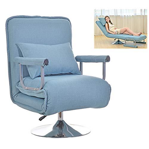 DJLOOKK Silla de Oficina en casa, sillas de Juego ergonómicas con Almohada, Ajuste de 5 Niveles, Suave y cómoda, Silla de Escritorio Plegable para computadora, sofá Cama Perezoso Engrosado,Azul