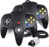 2 Pack N64 Controller, MODESLAB Classic Wired N64 64-bit Gamepad Joystick for Ultra 64 Video Game Console N64 System (Black)