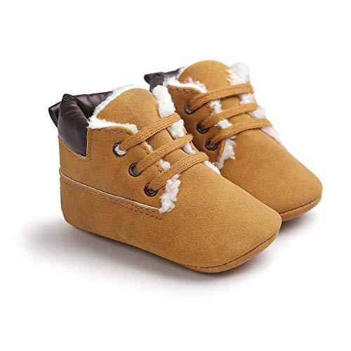 Morbuy Baby Schuhe Baumwolle Winter 0-18 Monate Neugeborene Babyschuhe Mädchen Kleinkind Weiche Alleinige Anti-Rutsch Krabbelschuhe Wanderer Schuhe (11cm / 0-6 Monate, Braun und Samt)