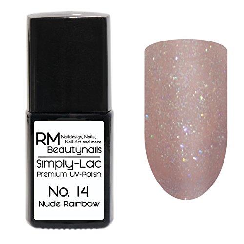 Simply-Lac Premium UV-Polish Nr. 14 Nude Rainbow Glitter 10ml Nagelgel UV-Nagellack RM Beautynails