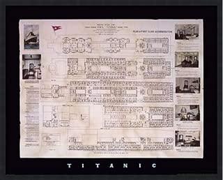 Poster Palooza Framed Titanic Deck Plan- 30x24 Inches - Art Print (Classic Black Frame)