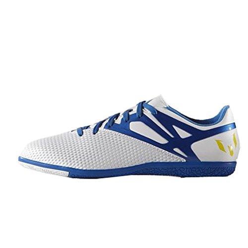 adidas Performance Men's Messi 15.3 Indoor Soccer Shoe, White/Prime Blue S12/Core Black, 9 M US