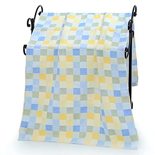 CZ-XING Toalla de playa de gasa de algodón puro para bebés y niños pequeños, doble capa, toalla de playa de rejilla de color 70 x 140 cm, azul, 70*140 cm