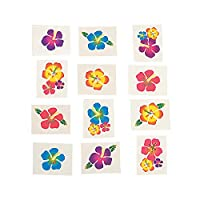 Hibiscus Glitter Temporary Tattoos : package of 36