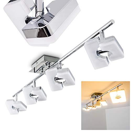 LED Deckenleuchte Turin, Deckenlampe in Chrom, 4-flammig, mit 4 verstellbaren Strahlern, je 6 Watt, 420 Lumen (1680 Lumen insgesamt), Lichtfarbe 3000 Kelvin (warmweiß)