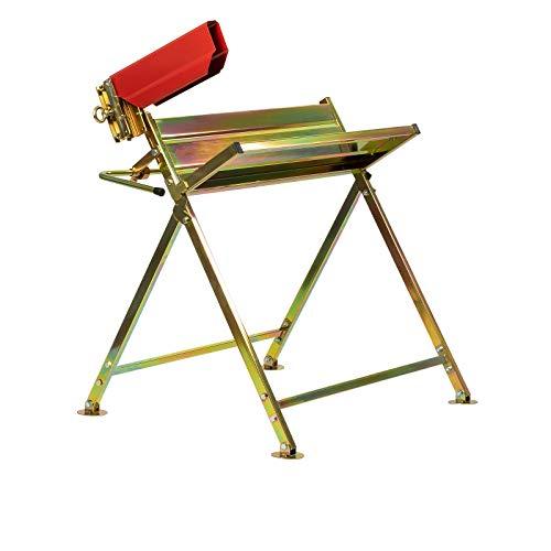 Grafner Sägebock mit Kettensägen-Halterung, bis 120 kg belastbar, stabile Ausführung aus verzinktem Stahl, klappbar, Sägebock für Kettensäge Sägehilfe Kippsäge Kappsäge Klappvorrichtung
