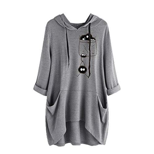 BOLANQ Damen Pullover top Shirt, Long leichte grüne warme Strickjacken günstig schöne dunkelblaue weißer Bunte grobe Kurzarm woll(X-Large,Grau)