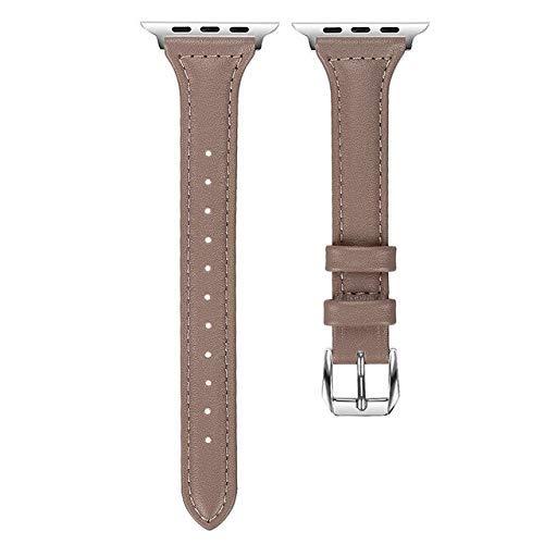 KTZAJO 2021 La última correa de cuero para Apple Watch 4 40 mm 44 mm pulsera de repuesto simple 38 mm 42 mm para iWatch 4 3 2 1 (color: marrón claro, tamaño: 42 mm o 44 mm)