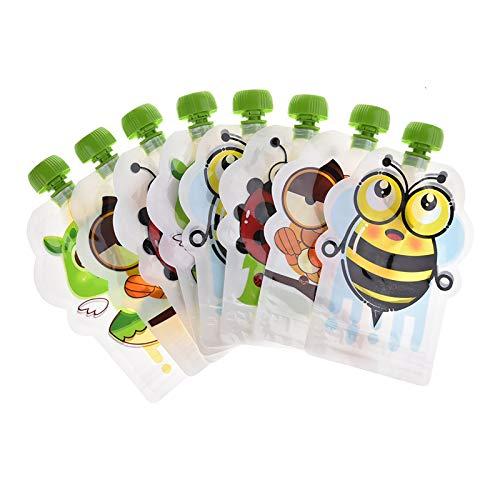 Bolsa de almacenamiento de suplementos alimenticios sellada reutilizable de 8 piezas, bolsa de puré de frutas casera, bolsa de bebé fácil de limpiar para destete, yogur, puré de frutas