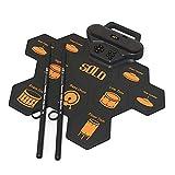 Cuttey Drum Pad Set Roll Up Electrónico Portátil Tambor Portátil de Silicona Principiantes Portátil de Silicona para Niños Práctico Grabación de la Cinta Térmica Tambor Electrónico A Mano