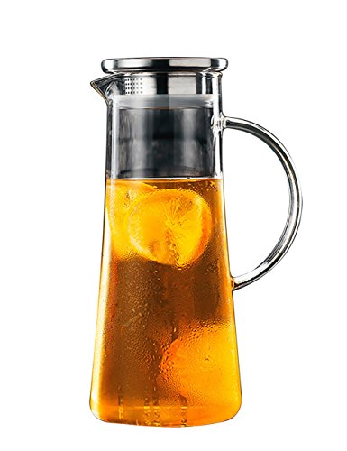 THEE Glas Krug Glaskrug Wasserkrug Saftkrug Kühlschrankkrug Karaffe aus hitzebeständigem Borosilikatglas,2#,1500ml