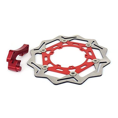 JFG RACING CNC - Soporte de Disco de Freno Delantero Flotante de Acero Inoxidable 270 mm para Honda CRF250R CRF450R CRF450X CR250R CR125R CRF250X SUPERMOTARD 125 CC 250 CC 450 CC, Color Rojo