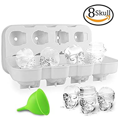 HoneyHolly 3D Skull Ice Cube Mold With Lid, Flexible Food Grade Silicone Ice Cube Chocolate Candy Mold Trays, Perfect For Kids Halloween Gifts, BPA Free - 8 Skull White