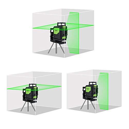 Huepar 901CG 1 x 360 Kreuzlinienlaser Grün, 360 Grad Linienlaser Selbstnivellierenden Laser Level mit Pulsfunktion, Umschaltbar 360° Horizontaler Linie, 25m Arbeitsbereich, inkl. Magnetische Halterung - 3