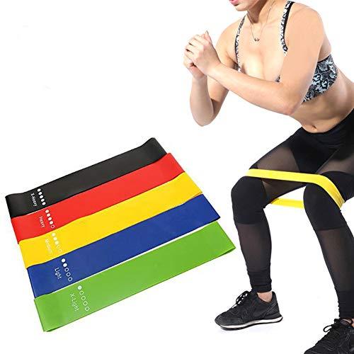 WuoooLi Resistance Loop Band Set van 5 Premium latex banden, been- en heuptraining sportband, wordt gebruikt voor yoga, kracht- en flexibiliteit training en stretchoefeningen.