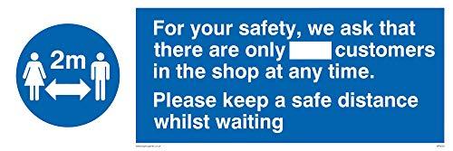 För din säkerhet ber vi att det bara finns_ kunder i butiken när som helst. Behåll en såg