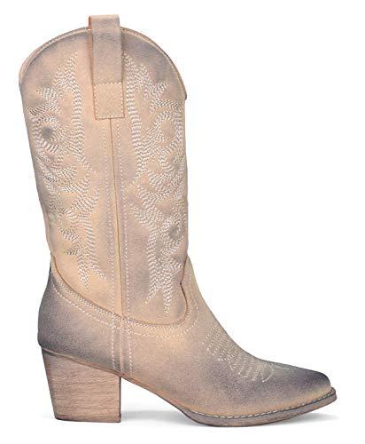 BOSANOVA Botas Cowboy Material de Ante con Detalle de Cosido