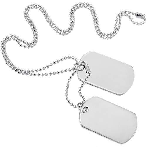 MOWOM Silver Tone 2PCS Alloy Pendant Necklace Army Double Dog Tag