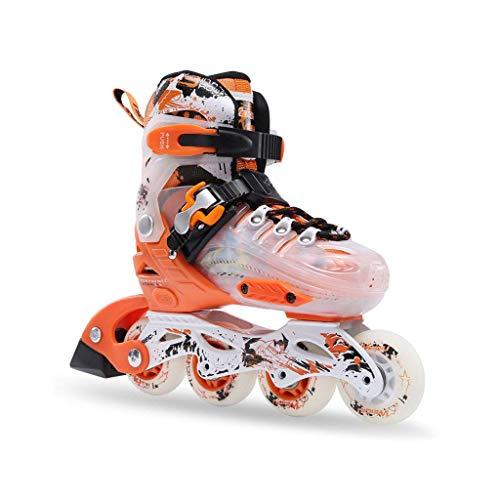 Taoke Inline Skates, Geschwindigkeit Skates for Kinder, EIN voller Satz Roller Skates, Schlittschuhe Adjustable (Farbe: Orange, Größe: S (30-33) 3-7 Jahre alt) dongdong