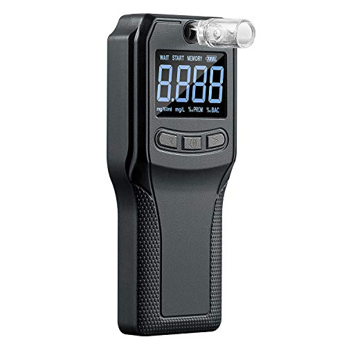 JASTEK Breathalyzer, Professional Fuel Cell Sensor Breath Alcohol Tester High-Accuracy Rechargeable Digital Breathalyzer Personal & Professional Use with 10 Mouthpieces