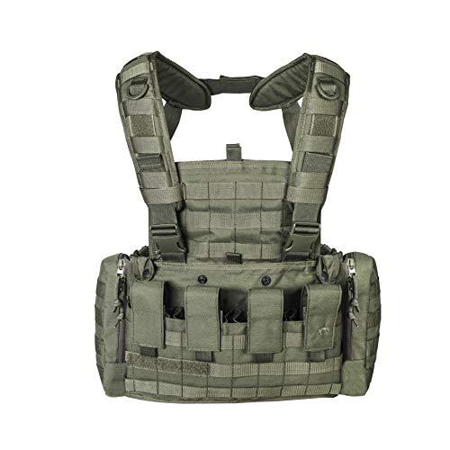 Tasmanian Tiger TT Chest Rig MKII Militär Gurtzeug Kampfmittel-Weste mit 4 G36 Magazin-Taschen und Taschen für 2 US Feldflaschen, Oliv