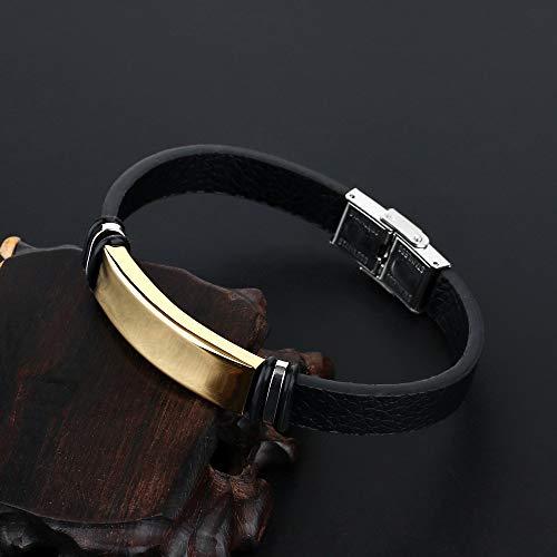 ZUOZUO Lederarmband Glamour Armband Schmuck schwarz glatt glatt Edelstahl Lederarmband Herren Vintage Manschette Armband Damen Puls Armband