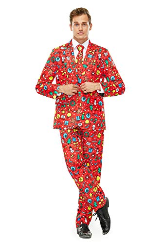 Men's Christmas Party Suit Funny Costume Novelty Xmas Jacket with Tie -Medium
