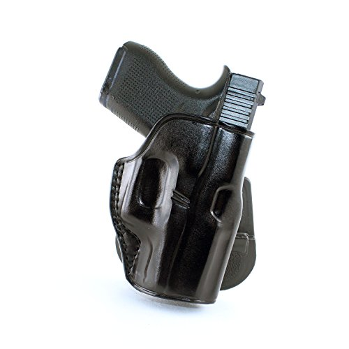 Premium Leather OWB Paddle Holster with Open Top Fits, Glock 43 Subcompact 9mm with Out Rail, Right Hand Draw, Black Color #1107#