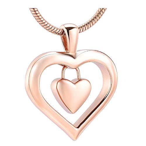 Wxcvz Colgante Conmemorativo Collar con Colgante De Cremación De Acero Inoxidable con Doble Corazón De Oro Rosa para Mujer, Cenizas Humanas Keep Askejewelry Urn