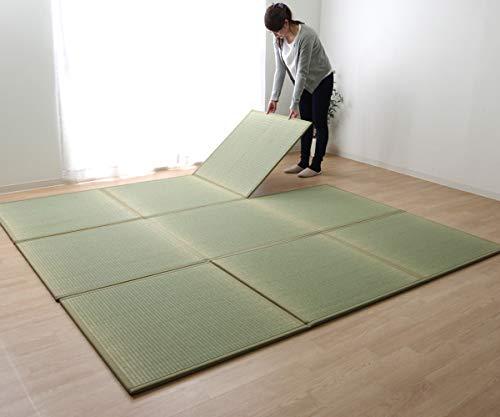置き畳 ユニット畳 日本製 3つ折り 防炎 パタパタ畳 ナチュラル 約82×246cm (1.5畳) すべり止め 吸着シート 5枚付き tatami ジョイントマット プレイマット ベビーマット フロアマット い草 国産 #8325109
