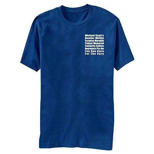 The Office Michael Scott's Fun Run Race Blue T-Shirt Tee, Medium
