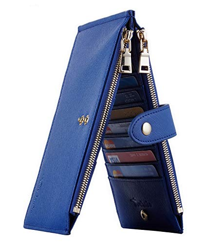 Travelambo Womens Walllet RFID Blocking Bifold Multi Card Case Wallet with Zipper Pocket Crosshatch (Blue Deep 6097)